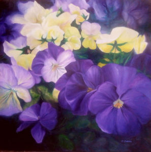 Pansies completed 6x6 bright